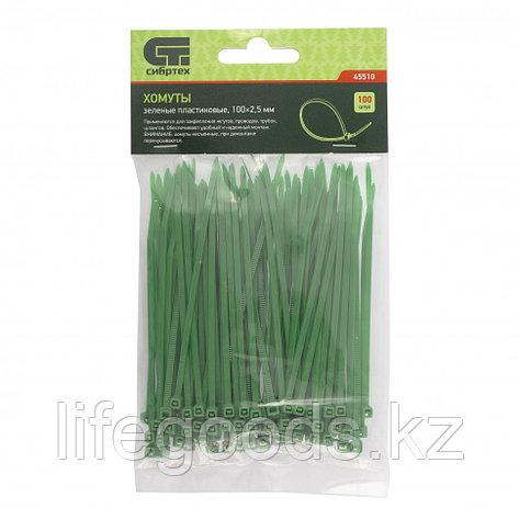 Хомуты, 100 x 2,5 мм, пластиковые, зеленые, 100 шт Сибртех 45510, фото 2