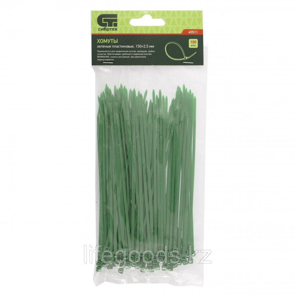 Хомуты, 150 x 2,5 мм, пластиковые, зеленые, 100 шт Сибртех 45511
