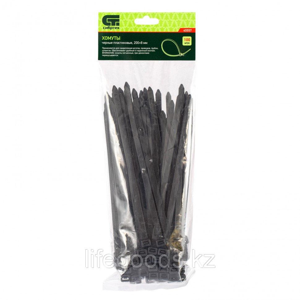 Хомуты, 200 х 8 мм, пластиковые, черные, 100 шт Сибртех 45557