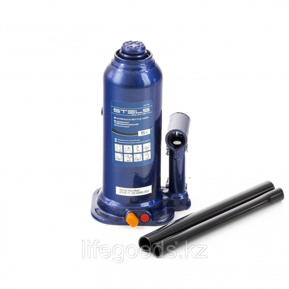Домкрат гидравлический бутылочный, 5 т, h подъема 207-404 мм, в пластиковом кейсе Stels 51175