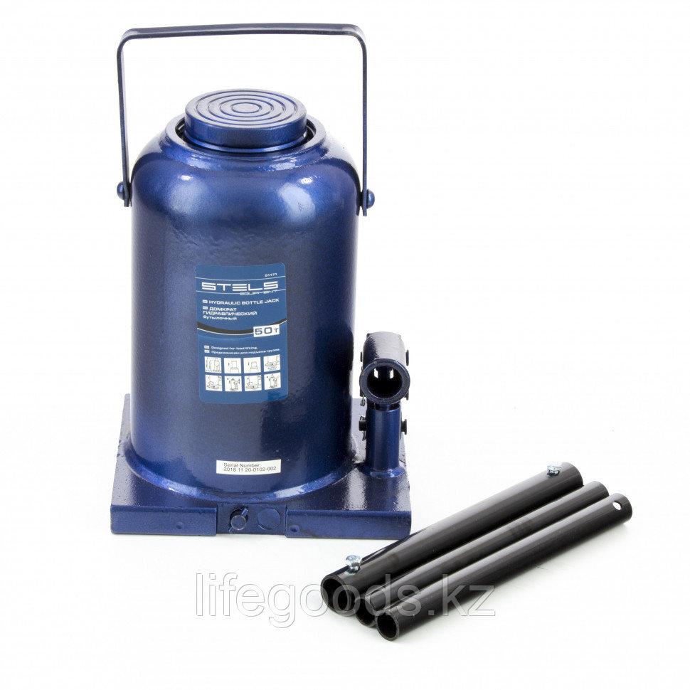 Домкрат гидравлический бутылочный, 50 т, h подъема 280-450 мм Stels 51171