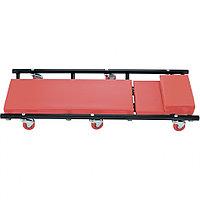 Лежак ремонтный на шести колесах, 1030 х 440 х 120 мм, поднимающийся подголовник Matrix 567455