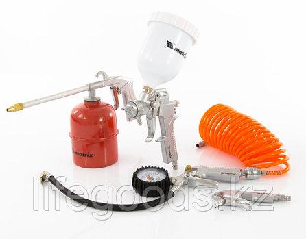Набор пневмоинструмента, 5 предметов, быстросъемное соединение, краскораспылитель с верхним бачком Matrix, фото 2