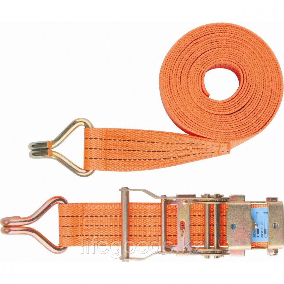 Ремень багажный с крюками, 0,05 х 12 м, с храповым механизмом Россия Stels 54388
