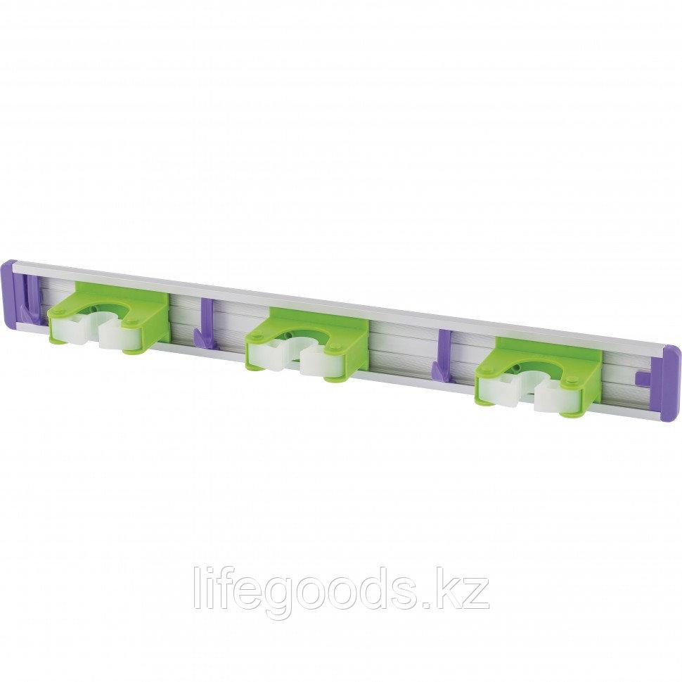 Алюминиевый настенный держатель для садового инструмента, 3 ячейки, 3 крюка Palisad 68303