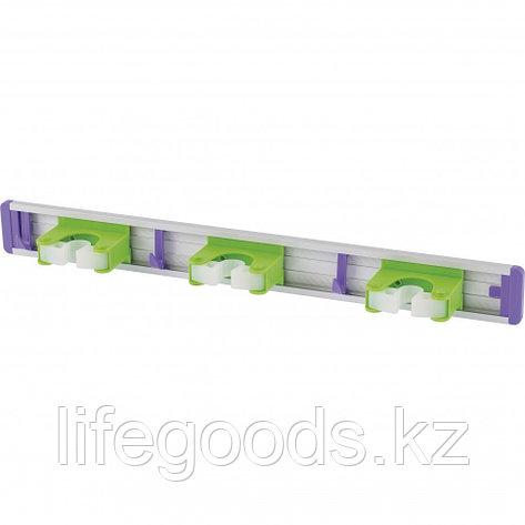 Алюминиевый настенный держатель для садового инструмента, 3 ячейки, 3 крюка Palisad 68303, фото 2