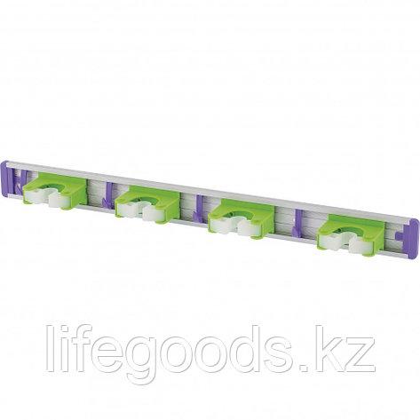 Алюминиевый настенный держатель для садового инструмента, 4 ячейки, 4 крюка Palisad 68302, фото 2