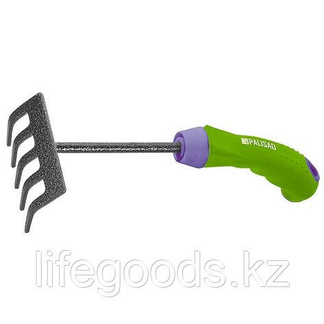 Грабли 5-зубые, 90 мм, защитное покрытие, обрезиненная эргономичная рукоятка Palisad 61777, фото 2