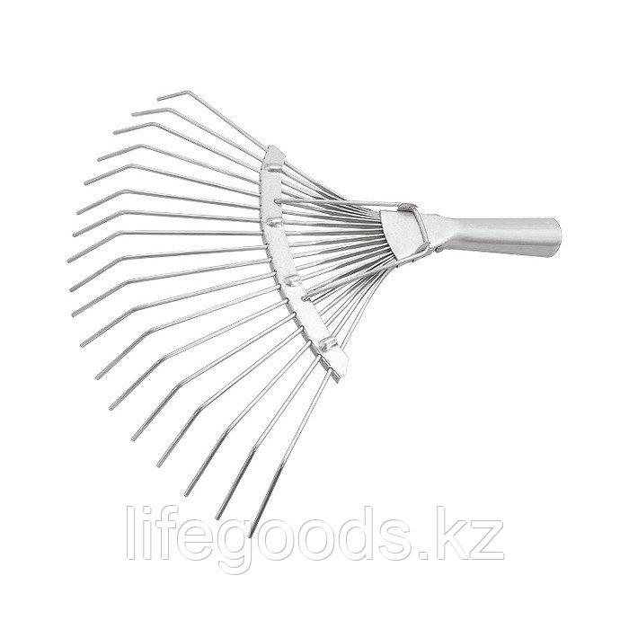 Грабли веерные 18 зубьев, без черенка, оцинкованные, круглый зуб Россия Сибртех 61780