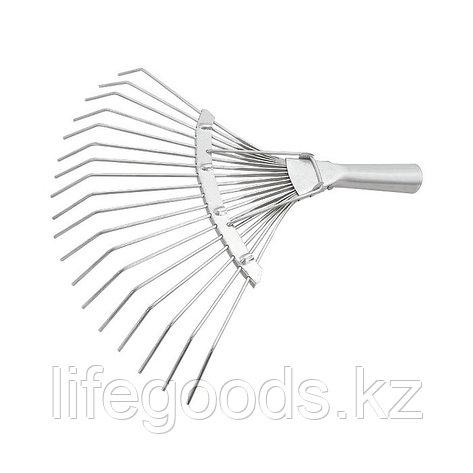 Грабли веерные 18 зубьев, без черенка, оцинкованные, круглый зуб Россия Сибртех 61780, фото 2