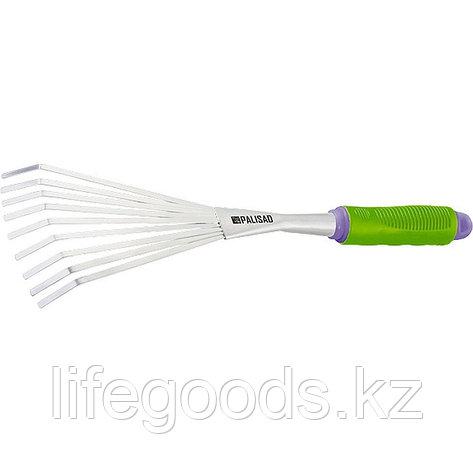 Грабли веерные девятизубые, обрезиненная рукоятка, может использоваться в сборе с ручкой 63016, 63017 Palisad, фото 2