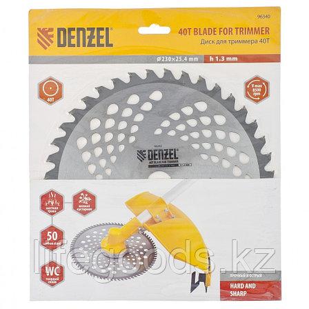 Диск для триммера, 230 х 25,4 мм, Толщинa 1,3 мм, 40 зубьев Denzel 96340, фото 2