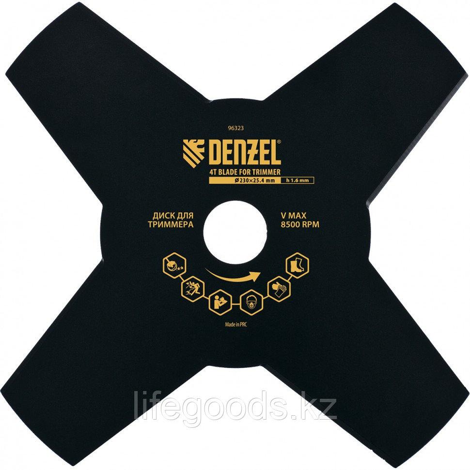 Диск для триммера, 230 х 25,4 мм, Толщинa 1,6 мм, 4 лезвия Denzel 96323