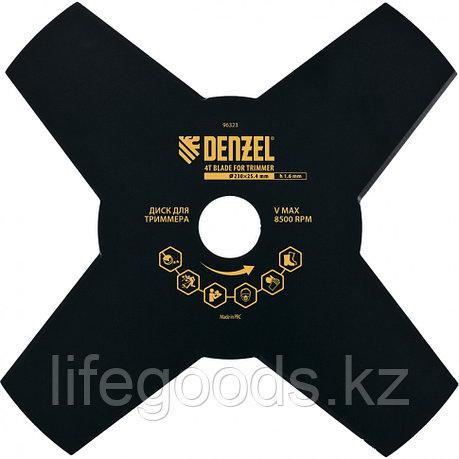 Диск для триммера, 230 х 25,4 мм, Толщинa 1,6 мм, 4 лезвия Denzel 96323, фото 2