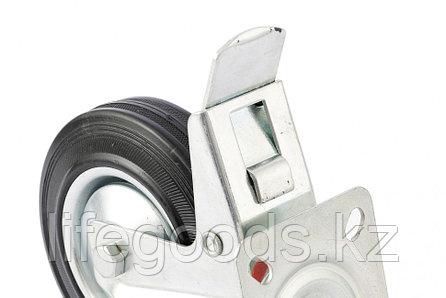 Колесо поворотное с тормозом D 200 мм, крепление  платформенное Сибртех 68724, фото 2