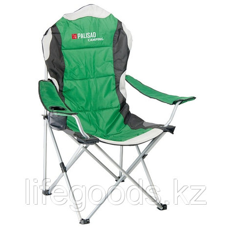 Кресло складное с подлокотниками и подстаканником, 60 х 60 х 110/92 см, Camping Palisad 69592, фото 2