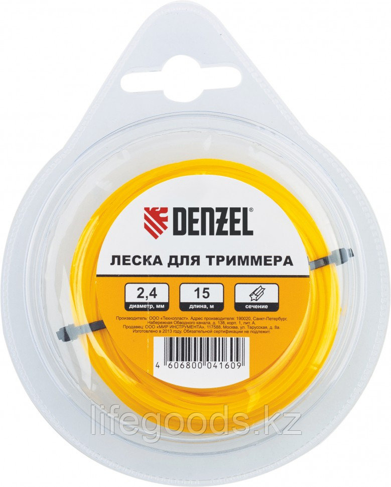 Леска для триммера квадратная, 1,6 мм х 15 м Denzel Россия 96153