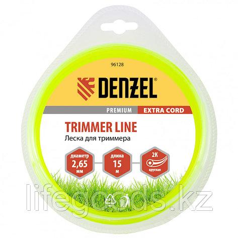 Леска для триммера, двухкомпонентная круглая 2,65 мм, 15 м Extra cord Denzel 96128, фото 2