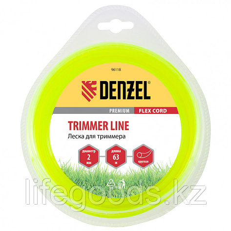 Леска для триммера, круглая 2 мм х 63 м, блистер Flex cord Denzel 96118, фото 2