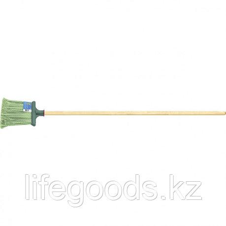 Метла полипропиленовая 240 х 160 мм плоская распушенная, с черенком Россия Сибртех 63219, фото 2
