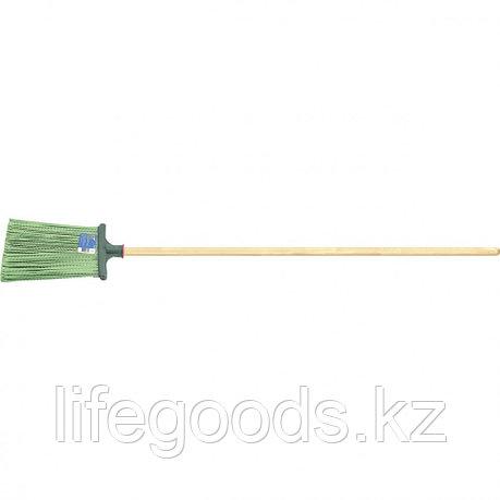 Метла полипропиленовая 270 х 260 мм плоская распушенная, с черенком Россия Сибртех 63218, фото 2