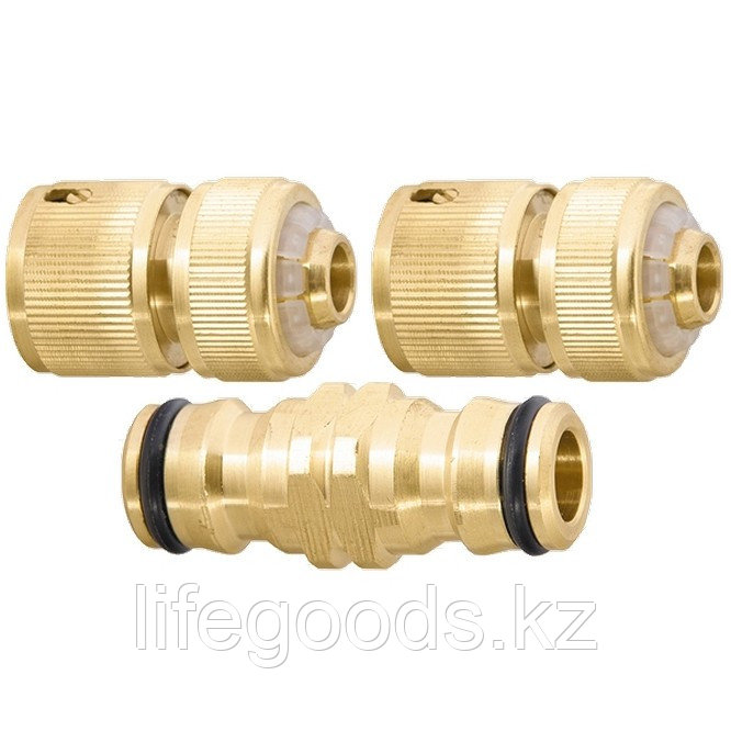 Набор для подключения шланга 1/2, переходник, 2 соединителя, аквастоп, латунный Palisad 66210