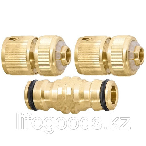 Набор для подключения шланга 1/2, переходник, 2 соединителя, аквастоп, латунный Palisad 66210, фото 2