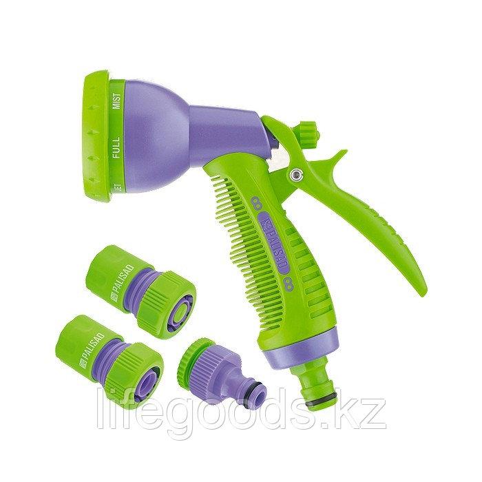 Набор для подключения шланга 3/4,пистолет 8 режимов полива, адаптер, 2 соединителя Palisad 65177