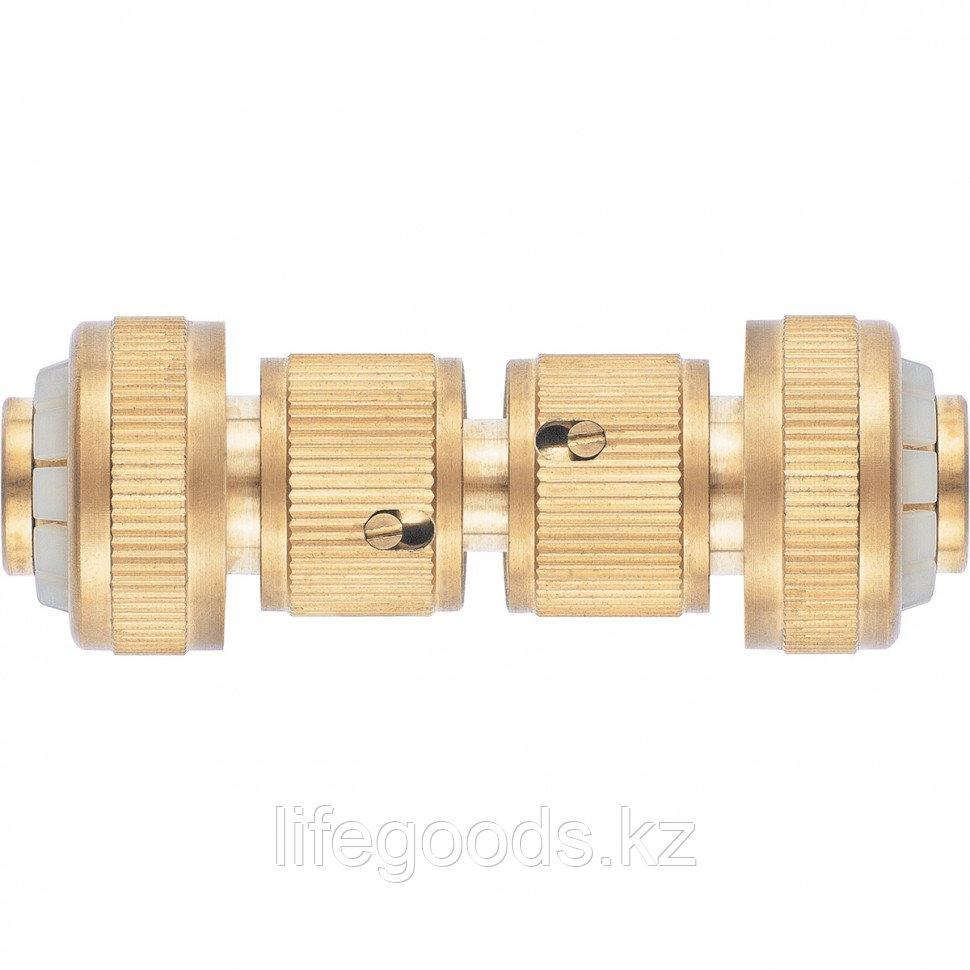 Набор для соединения шлангов 3/4, переходник, 2 соединителя, аквастоп, латунный Palisad 66211