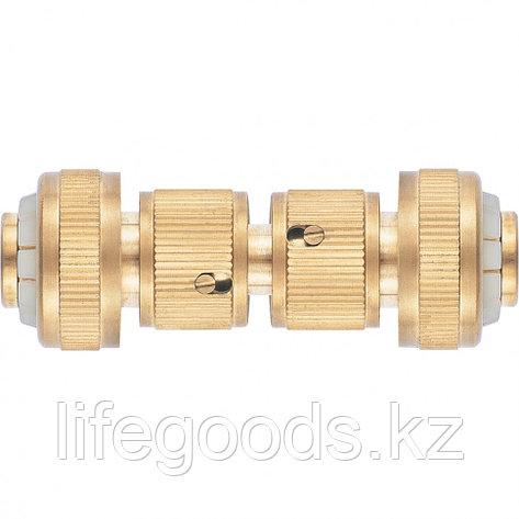 Набор для соединения шлангов 3/4, переходник, 2 соединителя, аквастоп, латунный Palisad 66211, фото 2