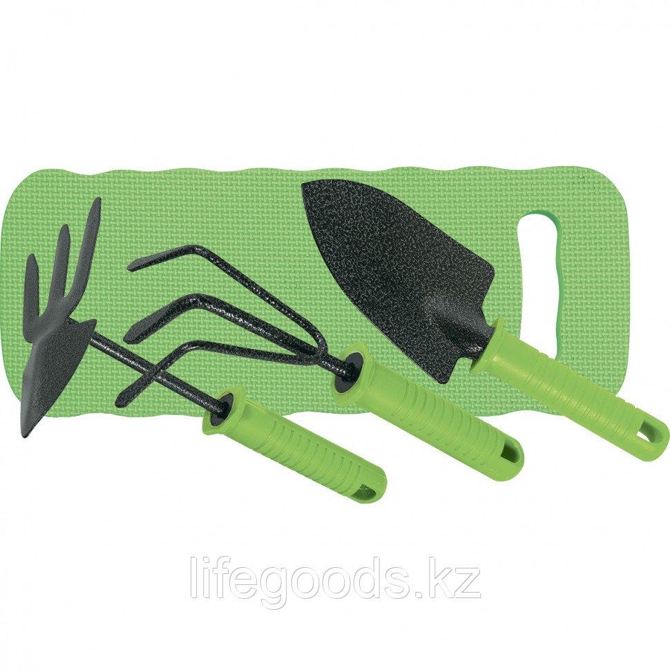 Набор садового инструмента 4 предмета: рыхлитель 3-зубый, мотыжка 3-зубая, совок широкий, коврик Palisad 62905