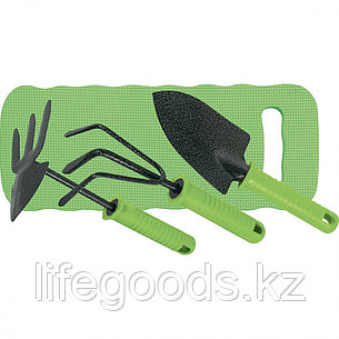 Набор садового инструмента 4 предмета: рыхлитель 3-зубый, мотыжка 3-зубая, совок широкий, коврик Palisad 62905, фото 2