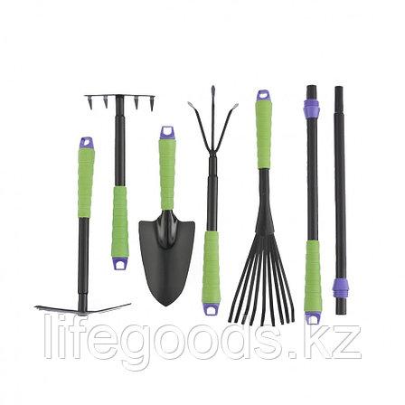 Набор садового инструмента: совок, грабли веерные, рыхлитель, грабли 5-зубые, мотыжка, комплект удленных ручек, фото 2