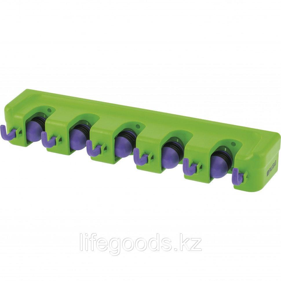Настенный держатель для садового инструмента, 5 ячеек, 6 крюков Palisad 68300