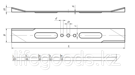 Нож для газонокосилки Kronwerk EGC-1500, 370 х 45 х 2,5 мм Kronwerk 96337, фото 2