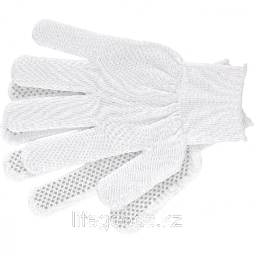 Перчатки Нейлон, ПВХ точка, 13 класс, белые, L Россия 67825