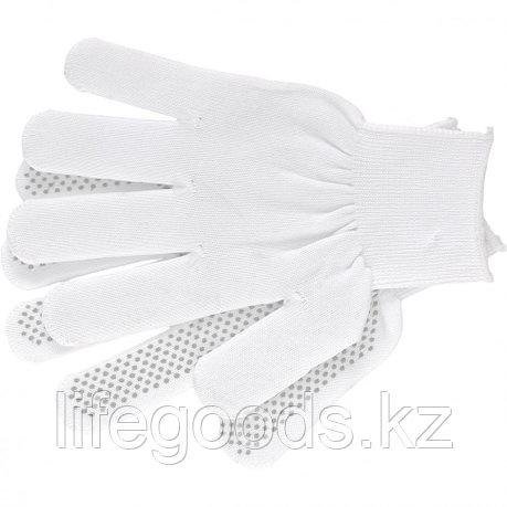 Перчатки Нейлон, ПВХ точка, 13 класс, белые, L Россия 67825, фото 2