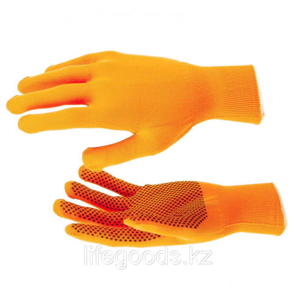 Перчатки Нейлон, ПВХ точка, 13 класс, оранжевые, XL Россия 67845
