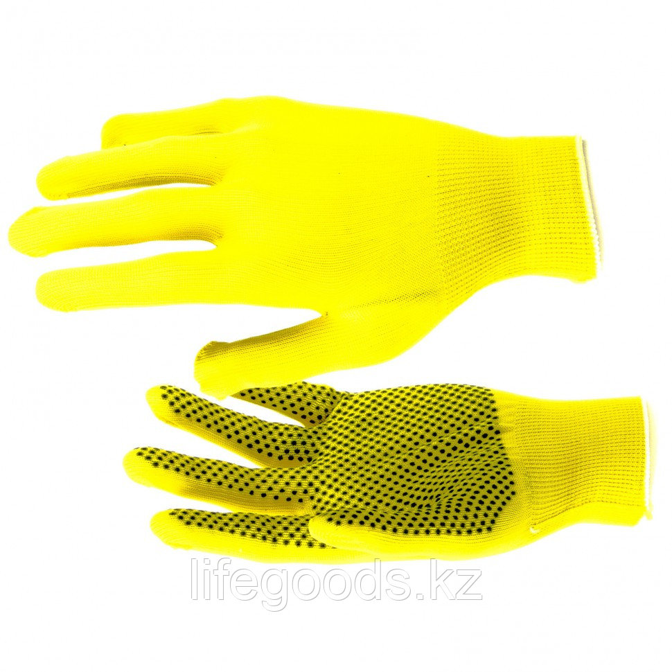 Перчатки Нейлон, ПВХ точка, 13 класс, цвет лимон, L Россия 67827