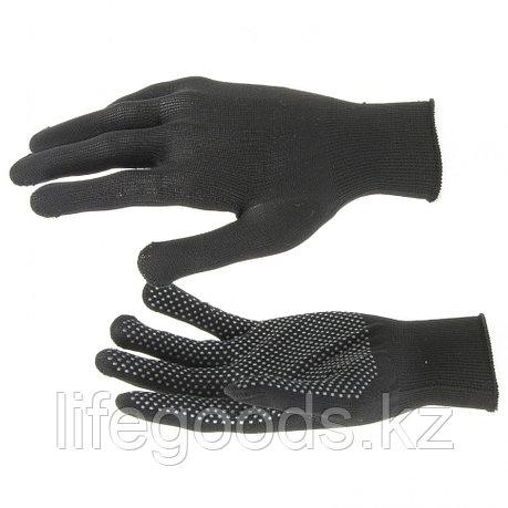 Перчатки Нейлон, ПВХ точка, 13 класс, черные, XL Россия 67848, фото 2
