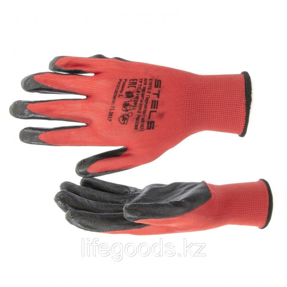Перчатки полиэфирные с черным нитрильным покрытием маслобензостойкие, L, 15 класс вязки Stels 67870