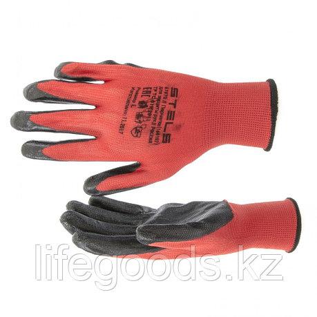 Перчатки полиэфирные с черным нитрильным покрытием маслобензостойкие, L, 15 класс вязки Stels 67870, фото 2