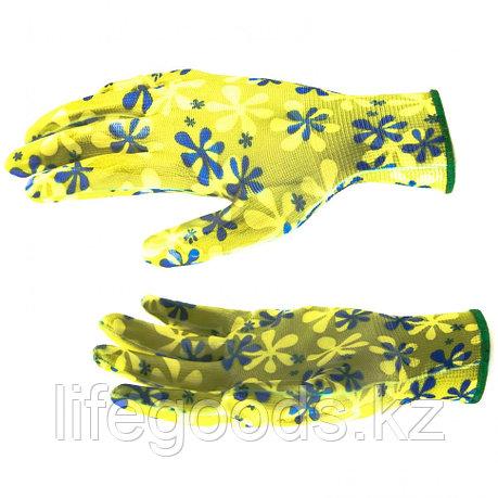 Перчатки садовые из полиэстера с нитрильным обливом, зеленые, M Palisad 67742, фото 2
