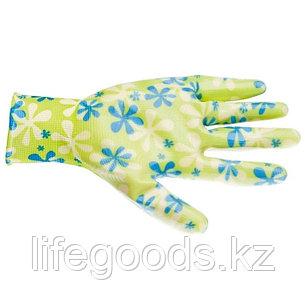 Перчатки садовые из полиэстера с нитрильным обливом, зеленые, S Palisad 67741, фото 2