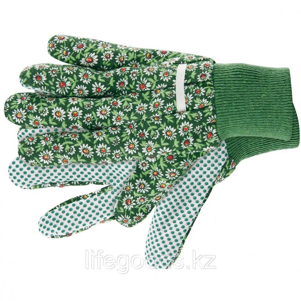 Перчатки садовые х/б ткань с ПВХ точкой, манжет, S Palisad 67761