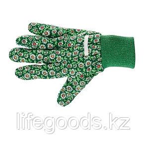 Перчатки садовые х/б ткань с ПВХ точкой, манжет, S Palisad 67761, фото 2