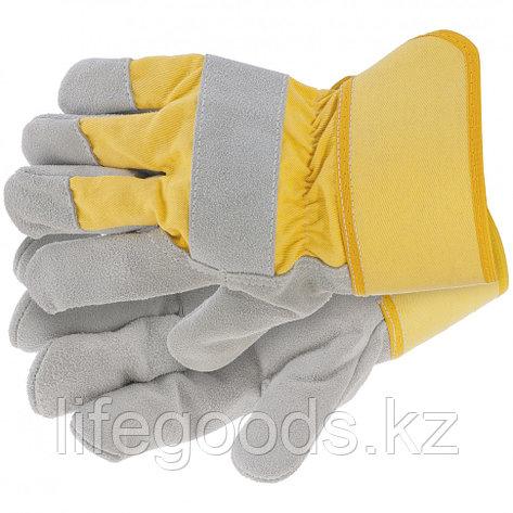 Перчатки спилковые комбинированные, усиленные, размер XL Сибртех 67902, фото 2