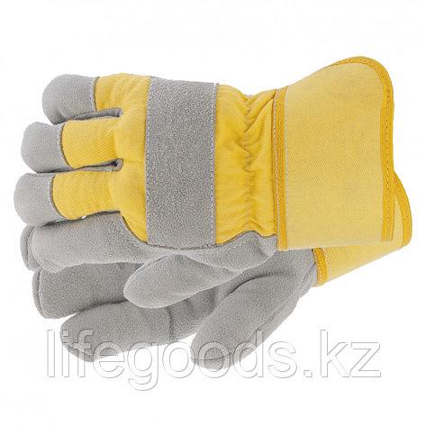 Перчатки спилковые комбинированные, усиленные, утолщенные, размер XL Сибртех 67903, фото 2