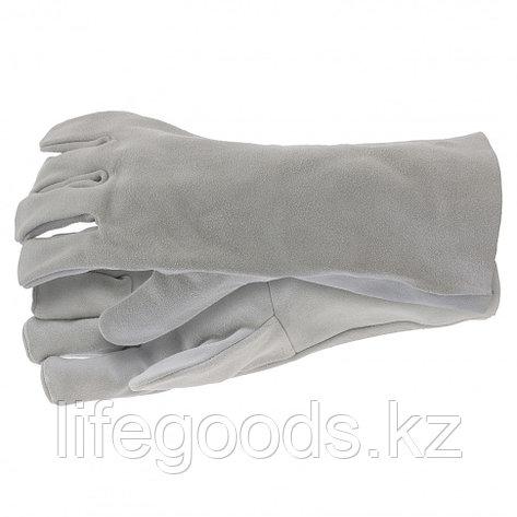 Перчатки спилковые с манжетой для садовых и строительных работ, размер XL Сибртех 67904, фото 2