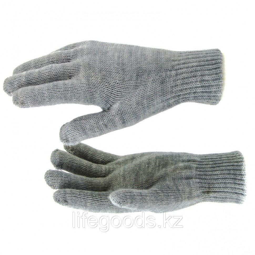Перчатки трикотажные, акрил, двойные, серая туча, двойная манжета Россия Сибртех 68682